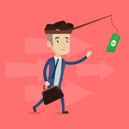 sweaty: Tired sweaty businessman trying to catch money on fishing rod. Businessman running for money hanging on fishing rod. Concept of financial motivation. Vector flat design illustration. Square layout.