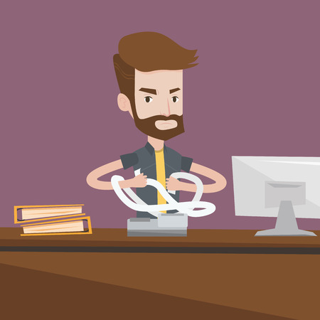 A hipster worker with the beard sitting in office and tearing furiously bills. Young angry businessman calculating invoices. Business bankruptcy concept. Vector flat design illustration. Square layout