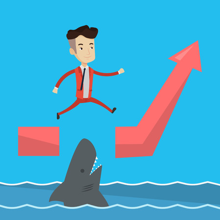 ascending: Happy businessman running on ascending graph and jumping over gap. Businessman jumping over ocean with shark. Business growth and business risks concept. Vector flat design illustration. Square layout