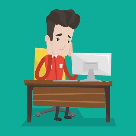 businessman working at his computer: Exhausted caucasian businessman sitting at workplace in front of computer in office. Overworked tired employee working with his head propped on hand. Vector flat design illustration. Square layout. Illustration