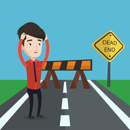 desperate: Young businessman having trouble in business. Desperate businessman clutching his head while standing in front of road barrier and road sign dead end. Vector flat design illustration. Square layout. Illustration