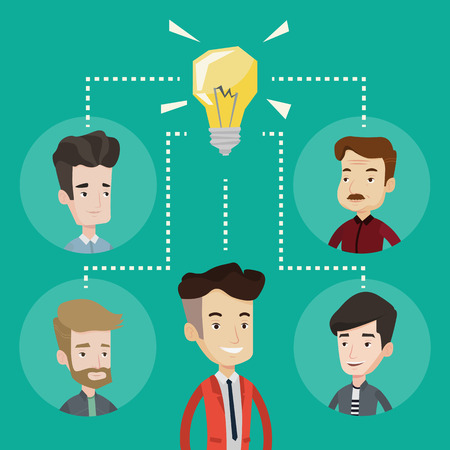 people connected: Business partners working at business innovations. Business people discussing business ideas. Group of business people connected by one idea light bulb. Vector flat design illustration. Square layout. Illustration