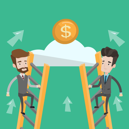 stair climber: Two businessman climbing the ladder on the cloud to get golden coin. Businessmen climbing to success. Concept of motivation and competition in business. Vector flat design illustration. Square layout. Illustration