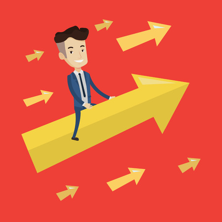 Happy cheerful businessman sitting on the arrow going up. Successful businessman flying up on arrow. Concept of moving forward for business success. Vector flat design illustration. Square layout. Illustration