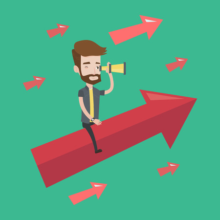 looking for job: Young hipster businessman sitting on the arrow going up and looking through spyglass. Concept of business vision and moving forward for business growth. Vector flat design illustration. Square layout.