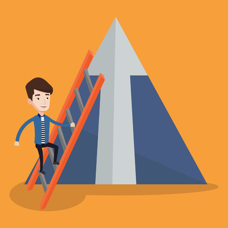 Young businessman climbing the ladder. Happy businessman climbing on mountain. Businessman climbing upward on the stairs to the top of a big arrow. Vector flat design illustration. Square layout. Illustration
