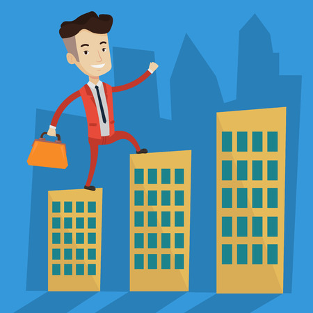businessman walking: Joyful businessman walking on the roofs of city buildings. Confident businessman walking on the roofs of skyscrapers. Businessman walking to the success. Vector flat design illustration. Square layout