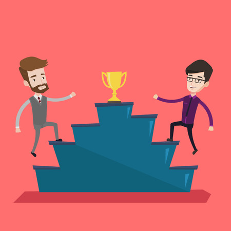 concurrence: Two confident businessmen competing to get golden trophy. Two competitive businessmen running up for the winner cup. Business competition, award concept. Vector flat design illustration. Square layout