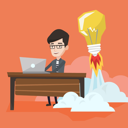 Young businessman working on laptop in office and idea bulb taking off behind him. Man having business idea. Successful business idea, start up concept. Vector flat design illustration. Square layout.