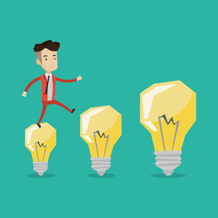 Smiling businessman in a suit hopping onto light bulbs. Young cheerful businessman jumping on light bulbs. Concept of business idea. Vector flat design illustration. Square layout. Illustration