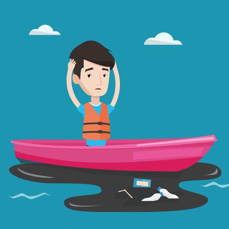 衛生労働者は、水の中からゴミをキャッチするボートに取り組んでいます。油流出を見ながら頭をつかんで欲求不満の男。水質汚濁の概念。ベクト