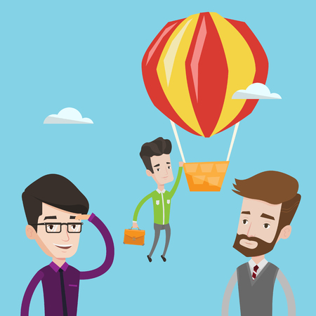 Two young caucasian employees looking at their successful colleague. Hardworking worker flying away in a balloon from his less successful colleagues. Vector flat design illustration. Square layout.