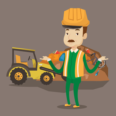 dumping: Worker in hard hat standing with spread arms on the background of rubbish dump and bulldozer working on landfill. Concept of environmental pollution. Vector flat design illustration. Square layout. Illustration
