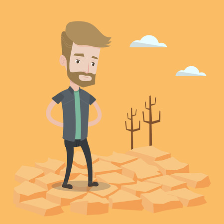 A hipster man with the beard standing in the desert. Frustrated young man standing on cracked earth. Concept of climate change and global warming. Vector flat design illustration. Square layout. Illustration
