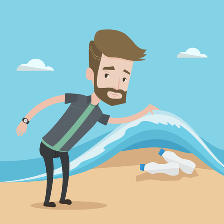 plastic pollution: A hipster caucasian young man with the beard showing plastic bottles under sea wave. Concept of water pollution and plastic pollution. Vector flat design illustration. Square layout.