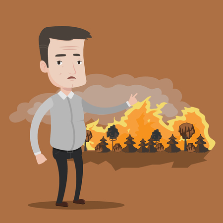 forest fire: Frustrated man standing on the background of a big forest fire. Mature caucasian man pointing at forest in flame. Concept of environmental destruction. Vector flat design illustration. Square layout. Illustration