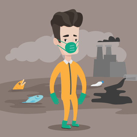 oil spill: Caucasian man in gas mask and radiation protective suit standing on the background of nuclear power plant. Man on background of oil spill and dead fish. Vector flat design illustration. Square layout.