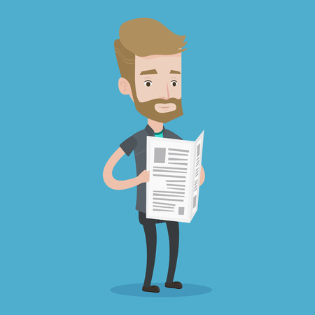 good news: A hipster man with the beard reading the newspaper. Young smiling man reading good news. Man standing with newspaper in hands. Vector flat design illustration. Square layout. Illustration