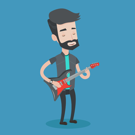 man playing guitar: Young musician playing electric guitar. A hipster man with the beard practicing in playing guitar. Guitarist with his eyes closed playing music. Vector flat design illustration. Square layout.