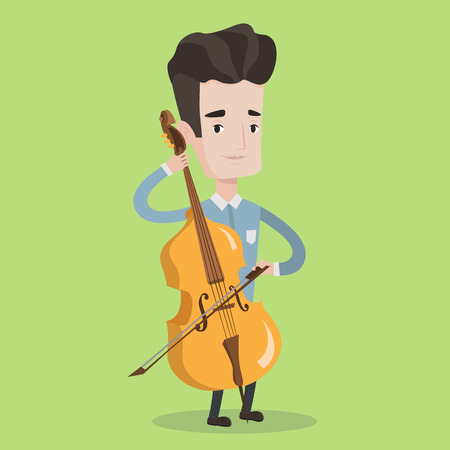 cellist: Young man playing cello. Cellist playing classical music on cello. Young man with cello and bow. Vector flat design illustration. Square layout.