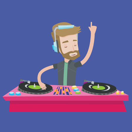 A hipster young DJ with the beard mixing music on turntables. DJ playing and mixing music on deck. Caucasian DJ wearing headphones at the party. Vector flat design illustration. Square layout. Illustration