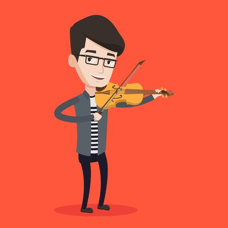 Jonge lachende man spelen viool. Violist het spelen van klassieke muziek op viool. Blanke man met viool staande op een rode achtergrond. Vector platte ontwerp illustratie. Vierkante lay-out.