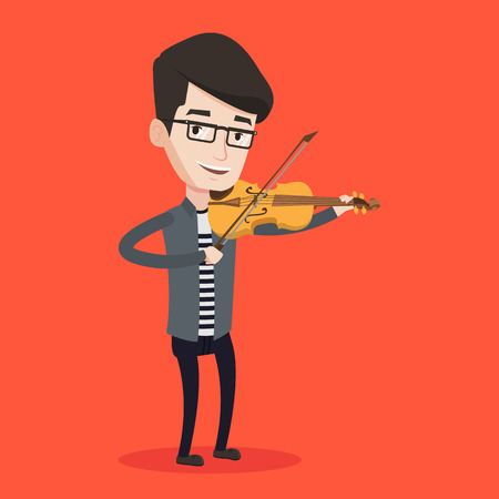 violinist: Young smiling man playing violin. Violinist playing classical music on violin. Caucasian man with violin standing on a red background. Vector flat design illustration. Square layout. Illustration