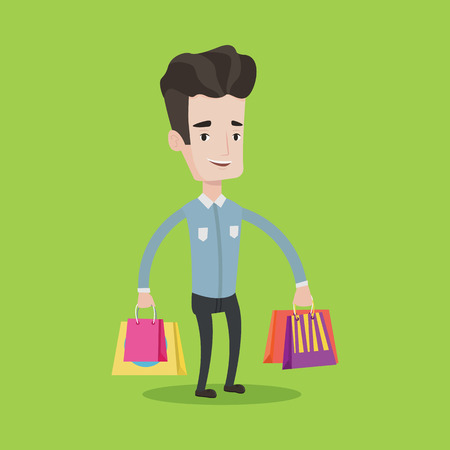 caucasians: Young smiling man holding shopping bags. Happy caucasian man carrying shopping bags. Man standing with a lot of shopping bags. Vector flat design illustration. Square layout.