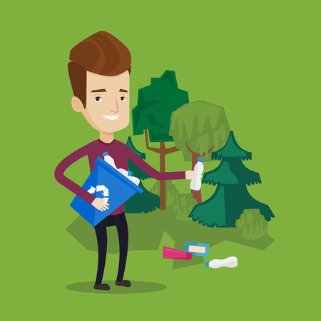 utilization: Joyful man with recycling bin in hand picking up used plastic bottles in park. Man collecting garbage in forest. Concept of environmental pollution. Vector flat design illustration. Square layout.