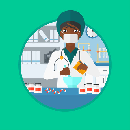 medical preparation: An african-american female pharmacist using mortar and pestle for preparing medicine in the laboratory. Pharmacist mixing medicine. Vector flat design illustration in the circle isolated on background