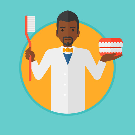 orthodontist: An african-american dentist holding dental jaw model and a toothbrush. Male dentist showing dental jaw model and toothbrush. Vector flat design illustration in the circle isolated on background.
