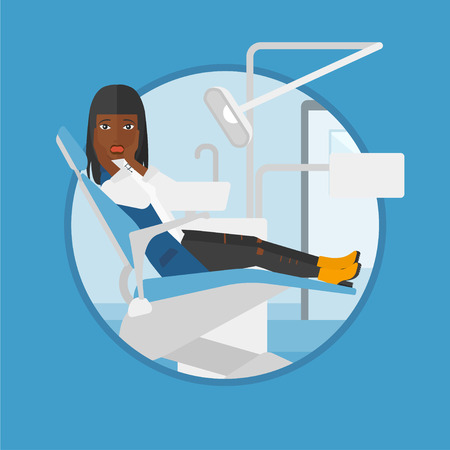 dental clinic: An african-american frightened patient at dentist office. Scared young woman in dental clinic. Afraid woman sitting in dental chair.Vector flat design illustration in the circle isolated on background