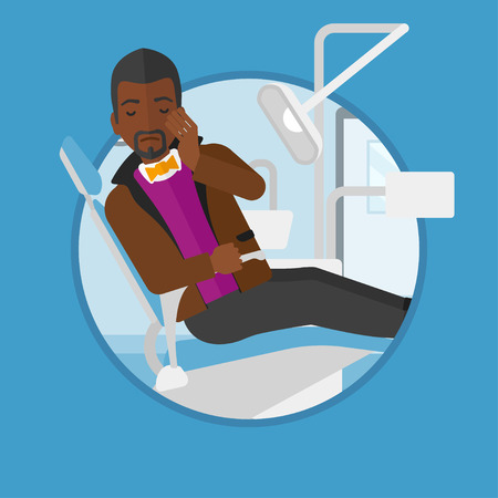 tooth pain: An african-american young patient sitting in dental chair. Sad man suffering from tooth pain. Man having a toothache. Vector flat design illustration in the circle isolated on background.