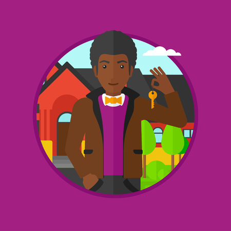 An african-american male real estate agent holding key. Man with keys standing in front of the house. Happy new owner of a house. Vector flat design illustration in the circle isolated on background.