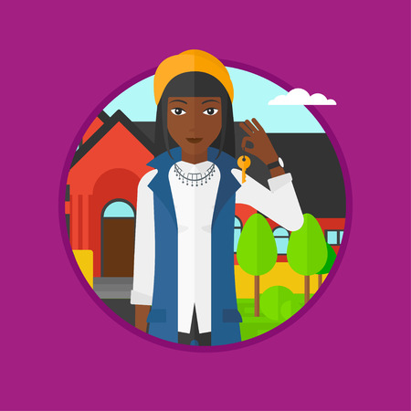 African-american female real estate agent holding key. Woman with keys standing in front of the house. Happy new owner of a house. Vector flat design illustration in the circle isolated on background.