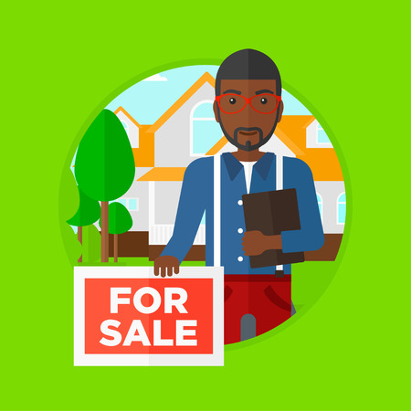 estate agent: An african real estate agent offering a house. Broker with placard for sale and documents in hands standing in front of the house. Vector flat design illustration in the circle isolated on background.