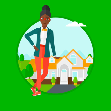 estate agent: An african-american female real estate agent standing near the house. Young real estate agent leaning on the house and offering it. Vector flat design illustration in the circle isolated on background