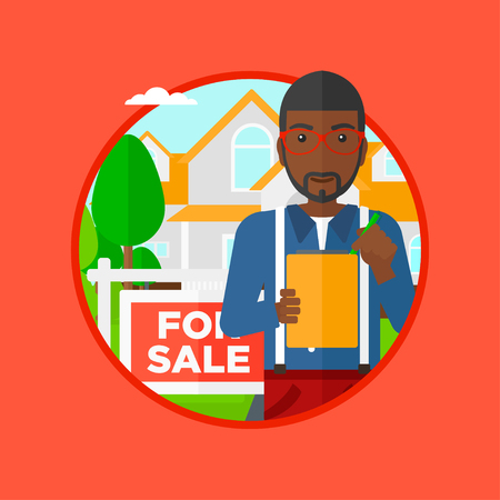 estate agent: An african-american real estate agent signing contract. Real estate agent standing in front of the house with placard for sale. Vector flat design illustration in the circle isolated on background. Illustration