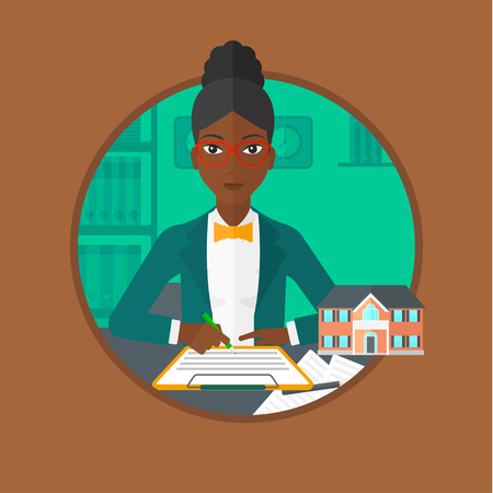 signing agent: An african-american real estate agent signing a contract. Woman sitting at workplace in office with a house model on the table. Vector flat design illustration in the circle isolated on background.
