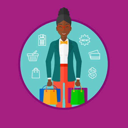 consumer goods: An african-american woman holding shopping bags. Happy young woman carrying shopping bags on the background of shopping icons. Vector flat design illustration in the circle isolated on background.