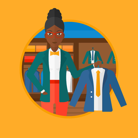 suit jacket: An african-american young woman holding hanger with suit jacket and shirt at clothing store. Shop assistant offering suit jacket. Vector flat design illustration in the circle isolated on background.