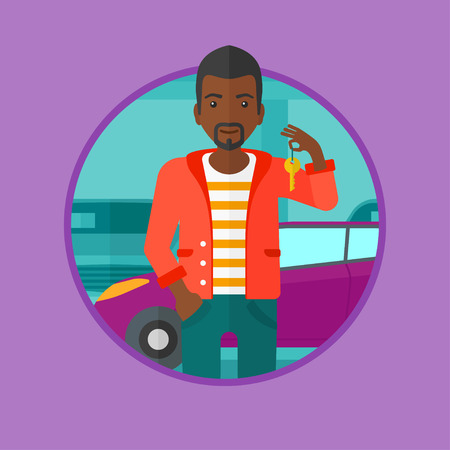 An african-american smiling man holding keys to her new car on the background of car shop. Happy young man buying a new car. Vector flat design illustration in the circle isolated on background. Illustration