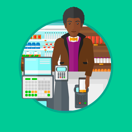 An african-american man paying wireless with his smartphone at the supermarket checkout . Customer making payment with smartphone. Vector flat design illustration in the circle isolated on background. Illustration