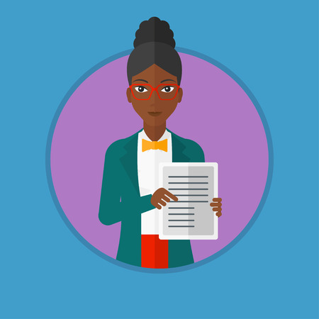 African-american real estate agent holding house contract or mortgage application form. Young woman showing ownership documents. Vector flat design illustration in the circle isolated on background.