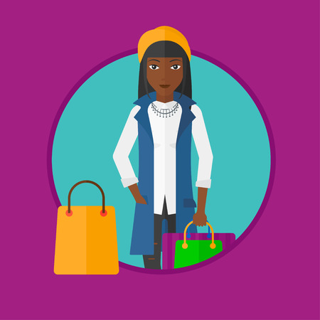 consumer goods: An african-american woman holding shopping bags. Happy young woman carrying shopping bags. Woman with a lot of shopping bags. Vector flat design illustration in the circle isolated on background. Illustration