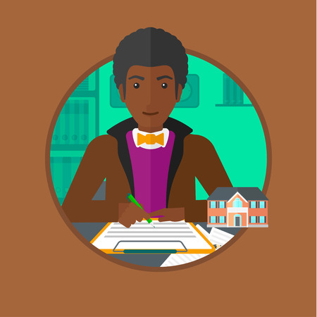 signing agent: An african-american male real estate agent signing a contract. Man sitting at workplace in office with a house model on the table. Vector flat design illustration in the circle isolated on background.