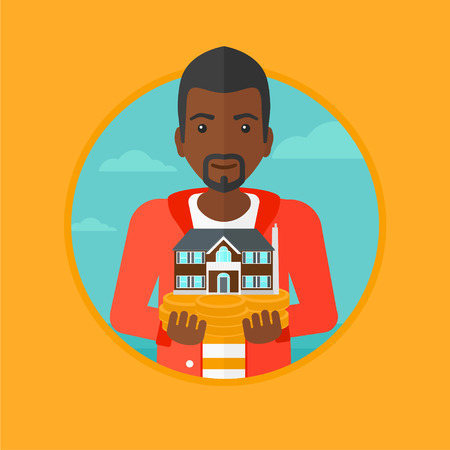 An african-american man holding house model in hands on the background of sky. Young male real estate agent with house model. Vector flat design illustration in the circle isolated on background.