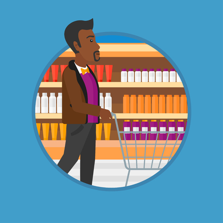 aisle: An african man pushing empty supermarket cart. Customer shopping at supermarket. Man walking with trolley on aisle at supermarket. Vector flat design illustration in the circle isolated on background.