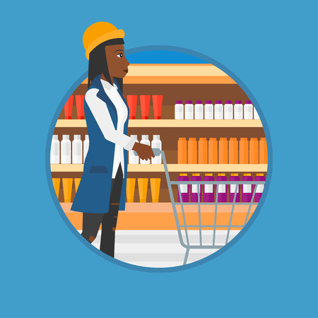 An african woman pushing supermarket cart. Young woman shopping at supermarket. Woman walking with supermarket trolley on aisle. Vector flat design illustration in the circle isolated on background. Illustration