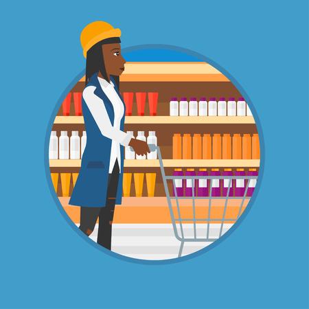 Una mujer africana empuja carrito de supermercado. Joven de compras en el supermercado. Mujer que recorre con carrito de supermercado en el pasillo. Vector de diseño plano de la ilustración en el círculo aislado en el fondo.